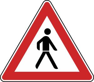 Verkehrszeichen 133-20 StVO, Fußgänger (Aufstellung links) (Seitenlänge/Folie/Form:  <b>630 mm</b> / RA1 / Flachform 2 mm (Art.Nr.: 133-20-111))