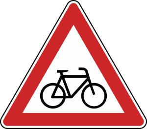 Verkehrszeichen 138-20 StVO, Radverkehr, Aufstellung links (Seitenlänge/Folie/Form:  <b>630mm</b>/RA1/Flachform 2mm (Art.Nr.: 138-20-111))