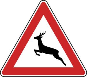 Verkehrszeichen 142-10 StVO, Wildwechsel (Aufstellung rechts) (Seitenlänge/Folie/Form:  <b>630mm</b>/RA1/Flachform 2mm (Art.Nr.: 142-10-111))