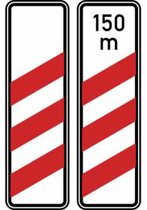 Verkehrszeichen 157-10 / 157-11 StVO, Dreistreifige Bake (Aufstellung rechts) (Form/Folie/Entfernungsangabe: Flachform / 2 mm / RA1<br> <b>ohne Entfernungsangabe</b> (Art.Nr.: 157-10-11))