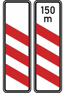 Verkehrszeichen 157-20 / 157-21 StVO, Dreistreifige Bake (Aufstellung links) (Form/Folie/Entfernungsangabe: Flachform / 2 mm / RA1<br> <b>ohne Entfernungsangabe</b> (Art.Nr.: 157-20-11))