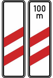 Verkehrszeichen 159-10 / 159-11 StVO, Zweistreifige Bake (Aufstellung rechts) (Form/Folie/Entfernungsangabe: Flachform / 2 mm / RA1<br> <b>ohne Entfernungsangabe</b> (Art.Nr.: 159-10-11))