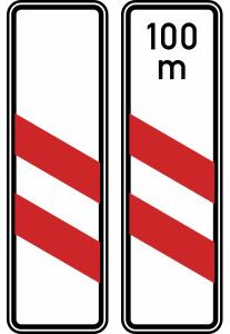 Verkehrszeichen 159-20 / 159-21 StVO, Zweistreifige Bake (Aufstellung links) (Form/Folie/Entfernungsangabe: Flachform / 2 mm / RA1<br> <b>ohne Entfernungsangabe</b> (Art.Nr.: 159-20-11))