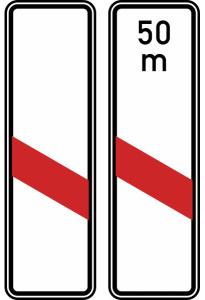 Verkehrszeichen 162-20 / 162-21 StVO, Einstreifige Bake (Aufstellung links) (Form/Folie/Entfernungsangabe: Flachform / 2 mm / RA1<br> <b>ohne Entfernungsangabe</b> (Art.Nr.: 162-20-11))