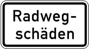 Verkehrszeichen 2010 StVO, Radwegschäden (Maße/Folie/Form:  <b>231x420mm</b>/RA1/Flachform 2mm (Art.Nr.: 2010-111))