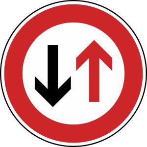 Verkehrszeichen 208 StVO, Vorrang des Gegenverkehrs (Durchmesser/Folie/Form:  <b>420 mm</b> / RA1 / Flachform 2 mm (Art.Nr.: 208-111))