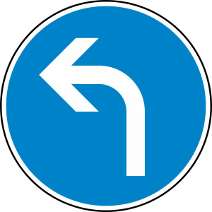 Verkehrszeichen 209-10 StVO, Vorgeschriebene Fahrtrichtung links (Durchmesser/Folie/Form:  <b>420 mm</b> / RA1 / Flachform 2 mm (Art.Nr.: 209-10-111))