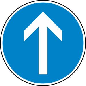 Verkehrszeichen 209-30 StVO, Vorgeschriebene Fahrtrichtung geradeaus (Durchmesser/Folie/Form:  <b>420 mm</b> / RA1 / Flachform 2 mm (Art.Nr.: 209-30-111))