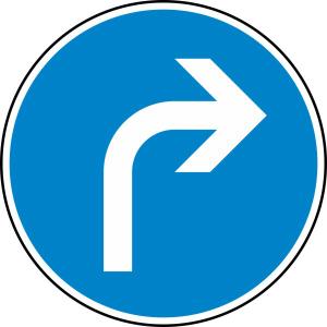 Verkehrszeichen 209 StVO, Vorgeschriebene Fahrtrichtung rechts (Durchmesser/Folie/Form:  <b>420 mm</b> / RA1 / Flachform 2 mm (Art.Nr.: 209-111))