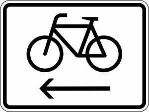 Verkehrszeichen 2201 StVO, Radfahrer Radweg links benutzen (Maße/Folie/Form:  <b>315x420mm</b>/RA1/Flachform 2mm (Art.Nr.: 2201-111))