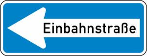 Verkehrszeichen 220-10 StVO, Einbahnstraße (linksweisend) (Folie/Form: RA1 / Flachform 2 mm (Art.Nr.: 220-10-11))