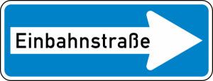 Verkehrszeichen 220-20 StVO, Einbahnstraße (rechtsweisend) (Folie/Form: RA1 / Flachform 2 mm (Art.Nr.: 220-20-11))