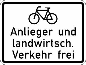 Verkehrszeichen 2212 StVO, Radfahrer, Anlieger und landwirtschaftlicher Verkehr frei (Maße/Folie/Form:  <b>315x420mm</b>/RA1/Flachform 2mm (Art.Nr.: 2212-111))