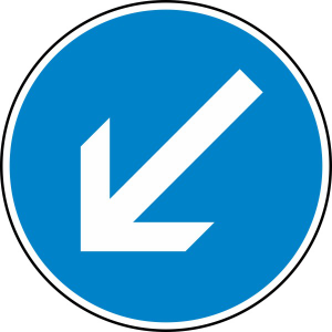 Verkehrszeichen 222-10 StVO, Vorgeschriebene Vorbeifahrt links vorbei (Durchmesser/Folie/Form:  <b>420 mm</b> / RA1 / Flachform 2 mm (Art.Nr.: 222-10-111))