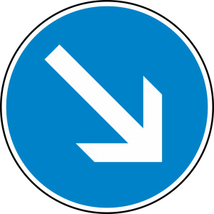 Verkehrszeichen 222 StVO, Vorgeschriebene Vorbeifahrt rechts vorbei (Durchmesser/Folie/Form:  <b>420 mm</b> / RA1 / Flachform 2 mm (Art.Nr.: 222-111))