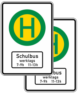 Verkehrszeichen 224-24 StVO, Schulbushaltestelle, doppelseitig (Folie/Form: RA1/Flachform 2mm (Art.Nr.: 224-41-111))