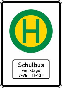 Verkehrszeichen 224-51 StVO, Haltestelle Linien- und Schulbusse, einseitig (Folie/Form: RA1/Flachform 2mm (Art.Nr.: 224-51-111))