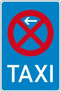 Verkehrszeichen 229-10 StVO, Taxenstand Anfang (Rechtsaufstellung) (Maße/Folie/Form:  <b>630x420mm</b>/RA1/Flachform 2mm (Art.Nr.: 229-10-111))