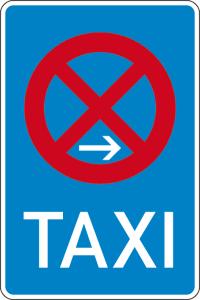 Verkehrszeichen 229-20 StVO, Taxenstand Ende (Rechtsaufstellung) (Maße/Folie/Form:  <b>630x420mm</b>/RA1/Flachform 2mm (Art.Nr.: 229-20-111))
