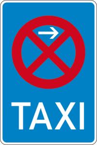 Verkehrszeichen 229-21 StVO, Taxenstand Anfang (Linksaufstellung) (Maße/Folie/Form:  <b>630x420mm</b>/RA1/Flachform 2mm (Art.Nr.: 229-21-111))