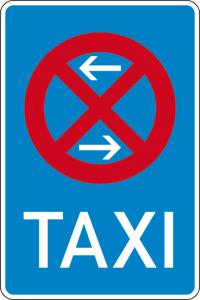Verkehrszeichen 229-30 StVO, Taxenstand Mitte (Rechtsaufstellung) (Maße/Folie/Form:  <b>630x420mm</b>/RA1/Flachform 2mm (Art.Nr.: 229-30-111))
