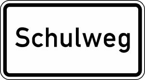 Verkehrszeichen 2303 StVO, Schulweg (Maße/Folie/Form:  <b>231x420mm</b>/RA1/Flachform 2mm (Art.Nr.: 2303-111))