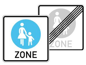 Verkehrszeichen 242.1-40 StVO, Fußgängerzone, doppelseitig (Maße/Folie/Form:  <b>600x600mm</b>/RA1/Flachform 2mm (Art.Nr.: 242.1-40-211))