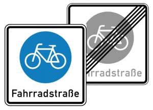 Verkehrszeichen 244.1-40 StVO, Fahrradstraße, doppelseitig (Folie/Form: RA1/Flachform 2mm (Art.Nr.: 244.1-40-311))