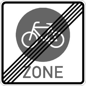 Verkehrszeichen 244.4 StVO, Ende einer Fahrradzone (Maße/Folie/Form:  <b>600 x 600 mm</b> / RA1 / Flachform 2 mm (Art.Nr.: 244.4-211))