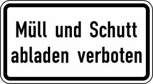 Verkehrszeichen 2502 StVO, Müll und Schutt abladen verboten (Maße/Form/Folie:  <b>231x420mm</b>/RA1/Flachform 2mm (Art.Nr.: 2502-111))