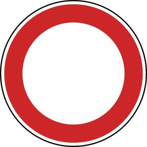 Verkehrszeichen 250 StVO, Verbot für Fahrzeuge aller Art (Durchmesser/Folie/Form:  <b>420 mm</b> / RA1 / Flachform 2 mm (Art.Nr.: 250-111))