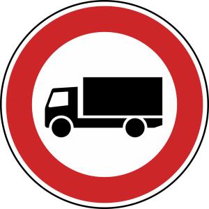 Verkehrszeichen 253 StVO, Verbot für Kraftfahrzeuge über 3,5 t (Durchmesser/Folie/Form:  <b>420 mm</b> / RA1 / Flachform 2 mm (Art.Nr.: 253-111))