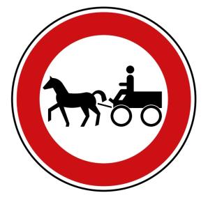 Verkehrszeichen 257-52 StVO, Verbot für Gespannfuhrwerke (Durchmesser/Folie/Form:  <b>420mm</b>/RA1/Flachform 2mm (Art.Nr.: 257-52-111))