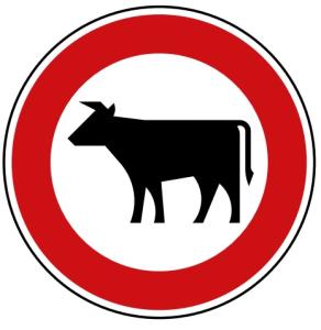 Verkehrszeichen 257-53 StVO, Verbot für Viehtrieb (Durchmesser/Folie/Form:  <b>420mm</b>/RA1/Flachform 2mm (Art.Nr.: 257-53-111))