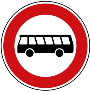 Verkehrszeichen 257-54 StVO, Verbot für Kraftomnibusse (Durchmesser/Folie/Form:  <b>420mm</b>/RA1/Flachform 2mm (Art.Nr.: 257-54-111))