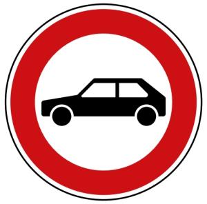 Verkehrszeichen 257-55 StVO, Verbot für Personenkraftwagen (Durchmesser/Folie/Form:  <b>420mm</b>/RA1/Flachform 2mm (Art.Nr.: 257-55-111))