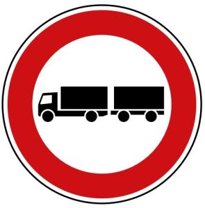 Verkehrszeichen 257-57 StVO, Verbot für Lastkraftwagen mit Anhänger (Durchmesser/Folie/Form:  <b>420mm</b>/RA1/Flachform 2mm (Art.Nr.: 257-57-111))