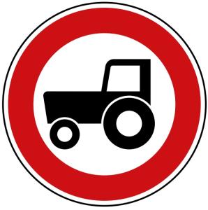 Verkehrszeichen 257-58 StVO, Verbot für Kraftfahrzeuge und Züge unter 25 km / h (Durchmesser/Folie/Form:  <b>420mm</b>/RA1/Flachform 2mm (Art.Nr.: 257-58-111))