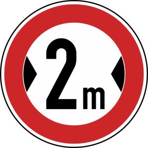 Verkehrszeichen 264 StVO, Verbot für Fahrzeuge über ... Breite (Durchmesser/Folie/Form:  <b>420 mm</b> / RA1 / Flachform 2 mm (Art.Nr.: 264-111))