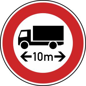 Verkehrszeichen 266 StVO, Verbot für Fahrzeuge über ... Länge (Durchmesser/Folie/Form:  <b>600mm</b>/RA1/Flachform 2mm (Art.Nr.: 266-211))