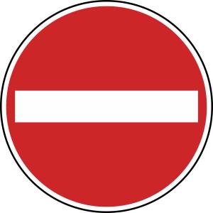 Verkehrszeichen 267 StVO, Verbot der Einfahrt (Durchmesser/Folie/Form:  <b>420 mm</b> / RA1 / Flachform 2 mm (Art.Nr.: 267-111))