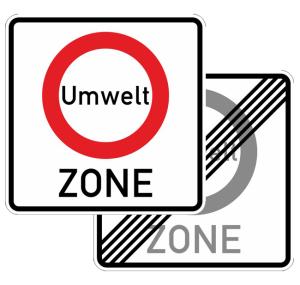 Verkehrszeichen 270.1-40 StVO,Verkehrsverbotszone zur Verminderung schädlicher Luftverunreinigungen in einer Zone, doppelseitig (Maße/Folie/Form:  <b>600x600mm</b>/RA1/Flachform 2mm (Art.Nr.: 270.1-40-211))