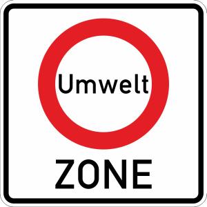 Verkehrszeichen 270.1  StVO, Beginn einer Verkehrsverbotszone zur Verminderung... (Maße/Folie/Form:  <b>600x600mm</b>/RA1/Flachform 2mm (Art.Nr.: 270.1-111))