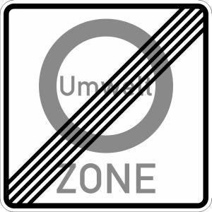 Verkehrszeichen 270.2 StVO, Ende einer Verkehrsverbotszone zur Verminderung... (Maße/Folie/Form:  <b>600x600mm</b>/RA1/Flachform 2mm (Art.Nr.: 270.2-111))
