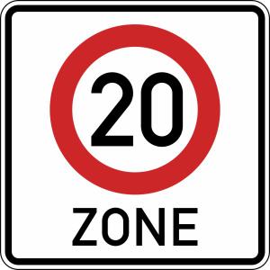 Verkehrszeichen 274.1-20 StVO, Beginn einer Tempo 20-Zone in... (Maße/Folie/Form:  <b>600x600mm</b>/RA1/Flachform 2mm (Art.Nr.: 274.1-20-111))