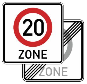 Verkehrszeichen 274.1-41 StVO, Tempo 20-Zone, doppelseitig (Maße/Folie/Form:  <b>600x600mm</b>/RA1/Flachform 2mm (Art.Nr.: 274.1-41-111))