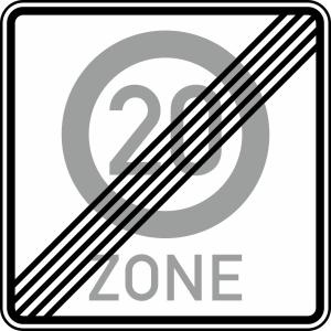 Verkehrszeichen 274.2-20 StVO, Ende einer Tempo 20-Zone (Maße/Folie/Form:  <b>600x600mm</b>/RA1/Flachform 2mm (Art.Nr.: 274.2-20-111))