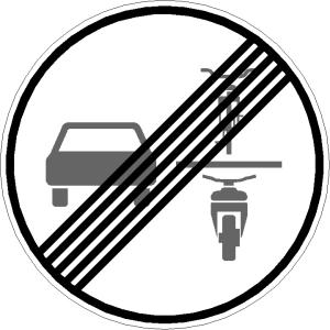 Verkehrszeichen 281.1 StVO, Ende des Verbots des Überholens von einspurigen Fahrzeugen (Folie/Form: RA1 / Flachform 2 mm (Art.Nr.: 281.1-211))