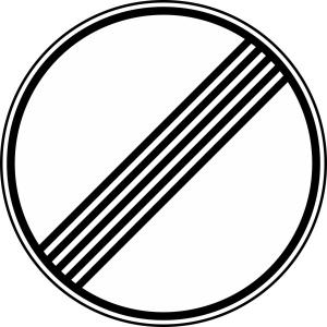 Verkehrszeichen 282 StVO, Ende sämtlicher streckenbezogener Geschwindigkeitsbeschränkungen... (Durchmesser/Folie/Form:  <b>600mm</b>/RA1/Flachform 2mm (Art.Nr.: 282-211))