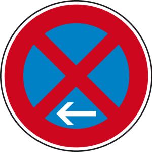 Verkehrszeichen 283-11 StVO, Absolutes Haltverbot Ende (Linksaufstellung) (Durchmesser/Folie/Form:  <b>420mm</b>/RA1/Flachform 2mm (Art.Nr.: 283-11-111))